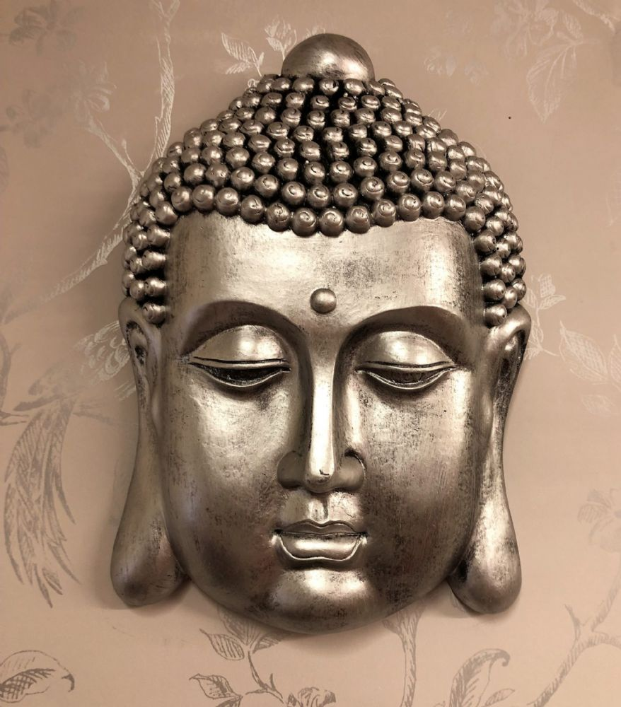 Pewter Effect 26cm Buddha Head Home | Garden Wall Art